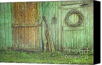 Shed Canvas Prints - Rustic barn doors with grunge texture Canvas Print by Sandra Cunningham