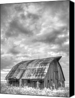 White Barn Canvas Prints - Rustic Barn Canvas Print by Jane Linders