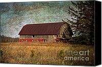 Cabin Window Canvas Prints - Rustic Barn Canvas Print by Ms Judi