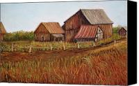Country Scenes Painting Canvas Prints - Rustic Barns Canvas Print by Reb Frost