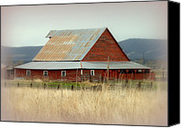 Farming Barns Canvas Prints - Rustic Red Barn Canvas Print by Cindy Wright