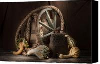 Old Wheel Canvas Prints - Rustic Still Life Canvas Print by Tom Mc Nemar