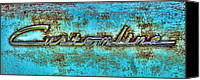 Turquoise And Rust Canvas Prints - Rusting Ford Chrome Insignia Canvas Print by Tony Grider