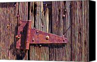 Rusty Door Canvas Prints - Rusty barn door hinge  Canvas Print by Garry Gay