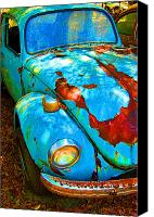 Rusted Cars Digital Art Canvas Prints - Rusty Blue Canvas Print by Kendra Clayton