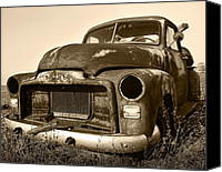 Rusty Digital Art Canvas Prints - Rusty But Trusty Old GMC Pickup Truck - Sepia Canvas Print by Gordon Dean II