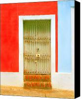 Screen Doors Photo Canvas Prints - Rusty Iron Door Canvas Print by Perry Webster