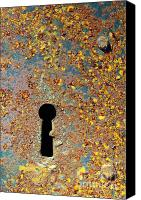 Heavy Texture Canvas Prints - Rusty key-hole Canvas Print by Carlos Caetano
