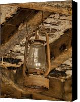 Oil Lamp Canvas Prints - Rusty lantern Canvas Print by Steev Stamford