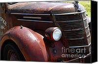 Old Trucks Canvas Prints - Rusty Old 1935 International Truck . 7D15499 Canvas Print by Wingsdomain Art and Photography