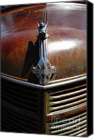 Rusted Cars Canvas Prints - Rusty Old 1935 International Truck Hood Ornament. 7D15503 Canvas Print by Wingsdomain Art and Photography