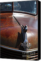 Old Trucks Photo Canvas Prints - Rusty Old 1935 International Truck Hood Ornament. 7D15506 Canvas Print by Wingsdomain Art and Photography