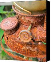 Oil Lamp Canvas Prints - Rusty Old Lantern Canvas Print by Mark J Seefeldt