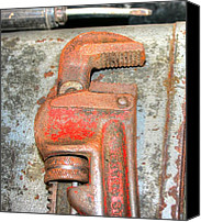 Valuable Canvas Prints - Rusty Pipe Wrench Canvas Print by Ester  Rogers