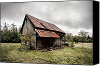 Old Buildings Canvas Prints - Rusty Tin Roof Barn Canvas Print by Gary Heller