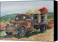 Truck Canvas Prints - Rusty Truck with Flowers Canvas Print by Gail Chandler