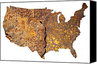 States Map Canvas Prints - Rusty USA map Canvas Print by Tony Cordoza