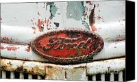 Rusted Cars Canvas Prints - Rusty Vintage White Ford Sign Canvas Print by Anahi DeCanio
