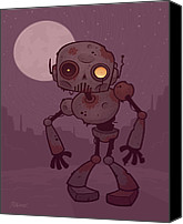 Halloween Digital Art Canvas Prints - Rusty Zombie Robot Canvas Print by John Schwegel