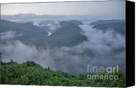 White River Scene Canvas Prints - Saar Loop in the morning fog Canvas Print by Heiko Koehrer-Wagner