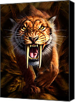 Face Digital Art Canvas Prints - Sabertooth Canvas Print by Jerry LoFaro
