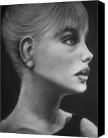 Black And White Pastels Canvas Prints - Sabrina Canvas Print by Paul Horton