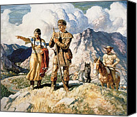 Tribe Canvas Prints - Sacagawea with Lewis and Clark during their expedition of 1804-06 Canvas Print by Newell Convers Wyeth