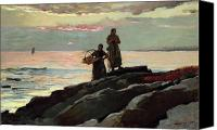 Atmospheric Painting Canvas Prints - Saco Bay Canvas Print by Winslow Homer