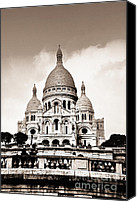 Basilica Canvas Prints - Sacre Coeur Basilica in Paris Canvas Print by Elena Elisseeva