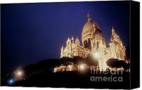 Tourist Destinations Canvas Prints - Sacre Coeur lit up at night with flood lights Canvas Print by Sami Sarkis