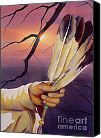Feathers Painting Canvas Prints - Sacred Feathers Canvas Print by Robert Hooper