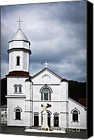 Christian Sacred Canvas Prints - Sacred Heart Church in Placentia Newfoundland Canvas Print by Elena Elisseeva