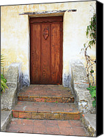 Stucco Canvas Prints - Sacred Heart Door Canvas Print by Carol Groenen