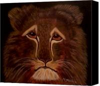 Maria Medina Canvas Prints - Sad Lion Canvas Print by Maria Medina