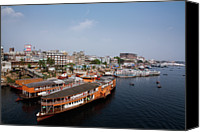 Cloud Glass Canvas Prints - Sadarghat River Canvas Print by Partha S. Mandal