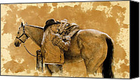 Cowgirl Drawings Canvas Prints - Saddled up Canvas Print by Debra Jones