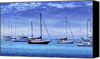 Yachts Digital Art Canvas Prints - Safe Harbor Canvas Print by Holly Kempe