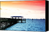 Tampa Digital Art Canvas Prints - Safety Harbor Pier Canvas Print by Bill Cannon