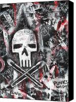 Safety Painting Canvas Prints - Safety Pins Punk Skull Canvas Print by Roseanne Jones