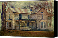Abandoned Structures Canvas Prints - Saggy Porch Canvas Print by Kathy Jennings