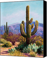 Mountains Pastels Canvas Prints - Saguaro Canvas Print by Candy Mayer