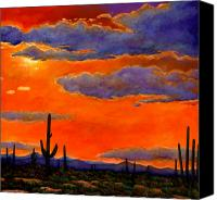 Wall Painting Canvas Prints - Saguaro Sunset Canvas Print by Johnathan Harris