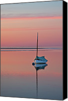 Solitude Canvas Prints - Sailboat And Buoy At Sunset Canvas Print by Betty Wiley