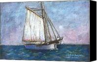 Seascape Pastels Canvas Prints - Sailboat Canvas Print by Arline Wagner