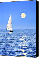 Moonlight Canvas Prints - Sailboat at full moon Canvas Print by Elena Elisseeva