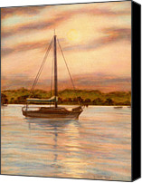 Idyllic Drawings Canvas Prints - Sailboat At Sunset Canvas Print by Diane Bay