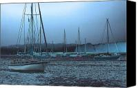 Boats Canvas Prints - Sailboat Harbor Canvas Print by Karol  Livote