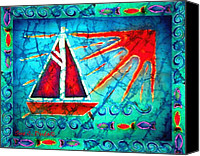Transportation Tapestries - Textiles Canvas Prints - Sailboat in the Sun Canvas Print by Sue Duda