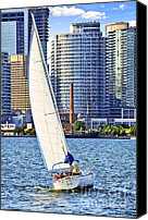 Sailboats Canvas Prints - Sailboat in Toronto harbor Canvas Print by Elena Elisseeva