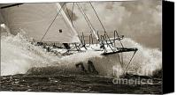 Black And White Canvas Prints - Sailboat Le Pingouin Open 60 Sepia Canvas Print by Dustin K Ryan